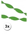 3 groene crepe papier slingers 5 meter