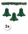 3 groene kerstklokken van papier 36 cm