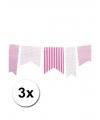 3 lichtroze vlaggenlijnen met stippen