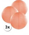 3 perzik kleurige lampionnen 35 cm