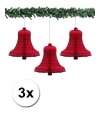 3 rode kerstklokken van papier 36 cm