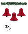 3 rode kerstklokken van papier 50 cm