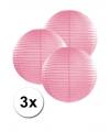 3 roze lampionnen 25 cm