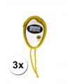 3 voordelige sport stopwatches geel