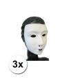 3 witte grimeer maskers met kalklaag