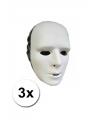 3 witte grimeer maskers van plastic
