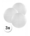 3 witte lampionnen 25 cm
