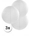 3 witte lampionnen 35 cm