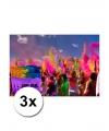 3 zakjes holi festival kleurpoeder paars