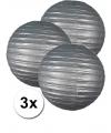 3 zilveren lampionnen 35 cm