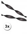3 zwarte crepe papier slingers 5 meter