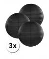 3 zwarte lampionnen 25 cm