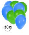 30x ballonnen groen en blauw