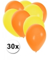 30x ballonnen oranje en geel