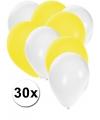30x ballonnen wit en geel