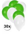 30x ballonnen wit en groen
