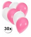 30x ballonnen wit en lichtroze