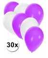 30x ballonnen wit en paars