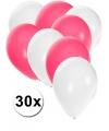 30x ballonnen wit en roze