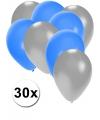 30x ballonnen zilver en blauw