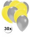 30x ballonnen zilver en geel
