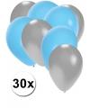 30x ballonnen zilver en lichtblauw