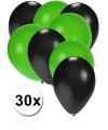 30x ballonnen zwart en groen