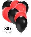 30x ballonnen zwart en rood