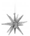 3d ster zilver met glitters 7 cm