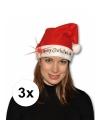 3x kerstmuts merry christmas met licht