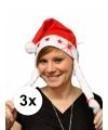 3x kerstmuts met vlechtjes en licht