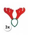 3x rendier diadeem rood met groen