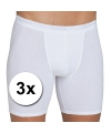 3x sloggi basic long heren boxershort wit