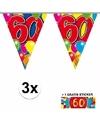 3x vlaggenlijn 60 jaar met gratis sticker