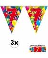 3x vlaggenlijn 7 jaar met gratis sticker