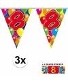 3x vlaggenlijn 8 jaar met gratis sticker