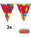 3x vlaggenlijn 90 jaar met gratis sticker