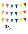 3x vlaggenlijn meerkleurig 10 meter