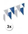 3x vlaggenlijnen kobalt blauw en wit