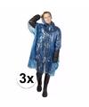 3x wegwerp regenponcho blauw