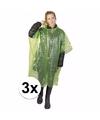 3x wegwerp regenponcho groen