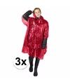 3x wegwerp regenponcho rood