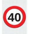 40 jaar verkeersbord mega deurposter