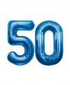 50 jaar folie ballonnen blauw