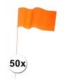 50 oranje papieren zwaaivlaggetjes