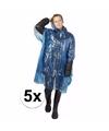 5x wegwerp regenponcho blauw