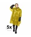 5x wegwerp regenponcho geel