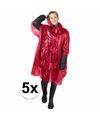 5x wegwerp regenponcho rood