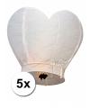 5x wensballon wit hart 100 cm