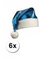 6 blauwe glimmende kerstmutsen